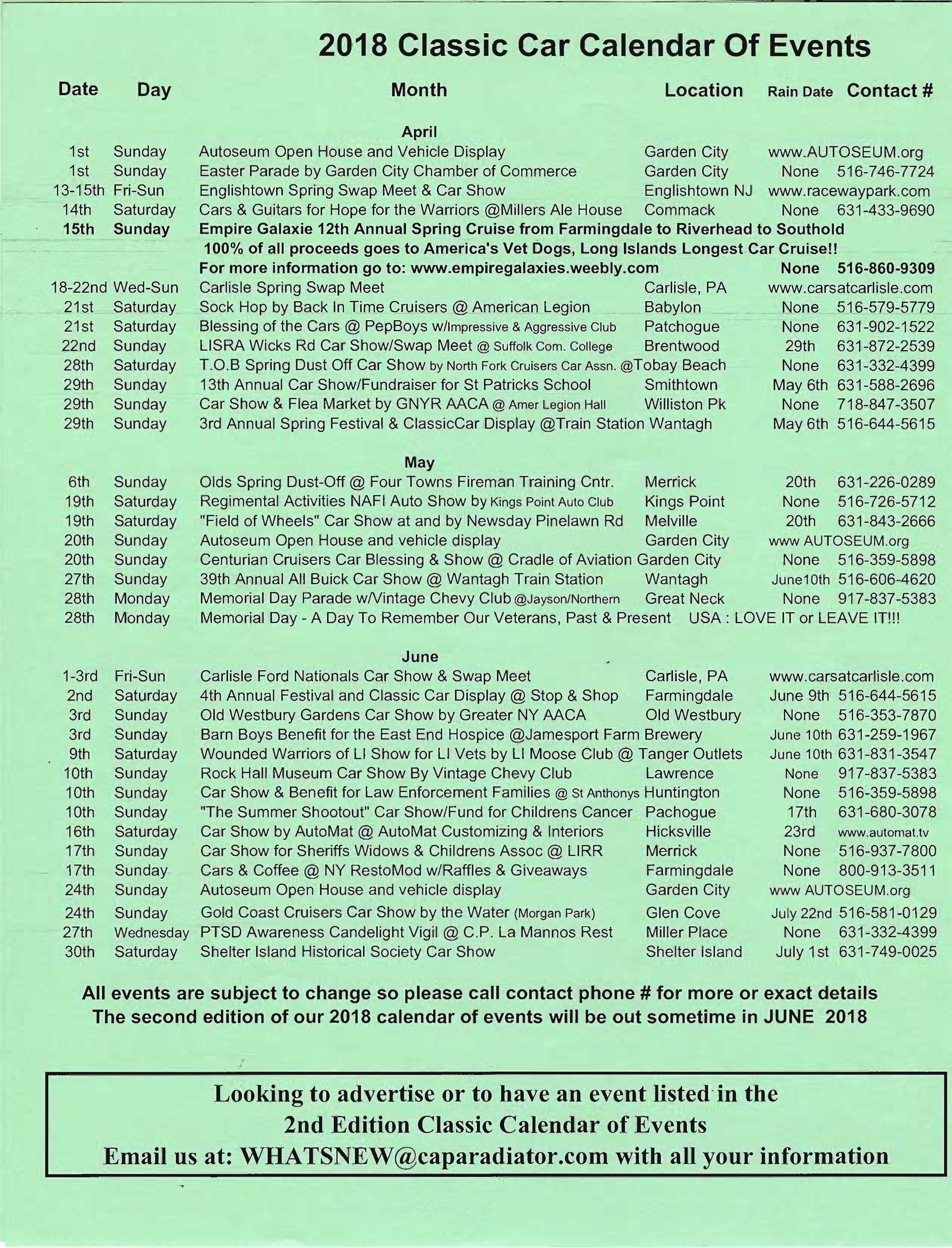 2018 Classic Car Calendar of Events First Edition through July Page 2
