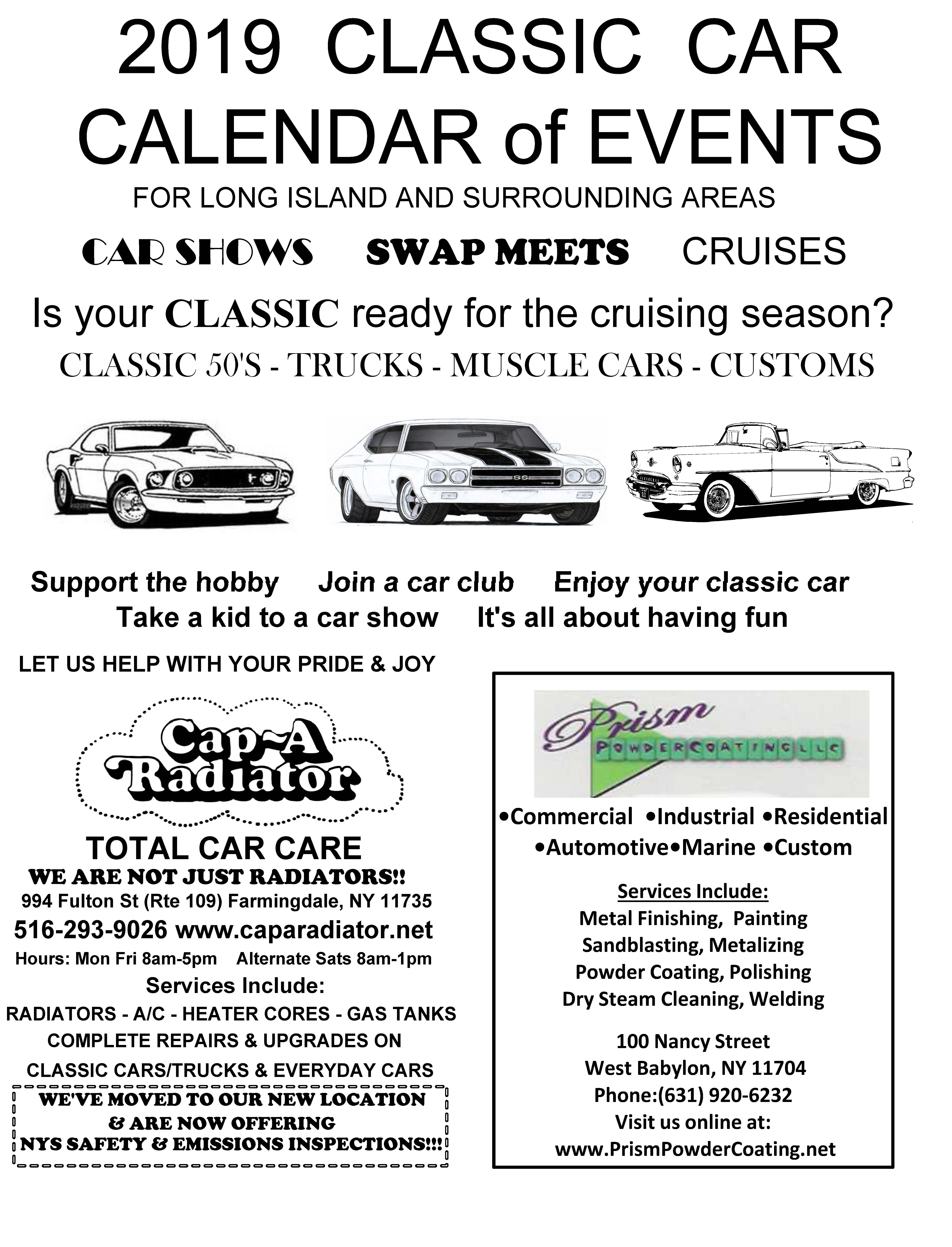 2019 LI Classic Car Calendar of Events Part 1 Page 1