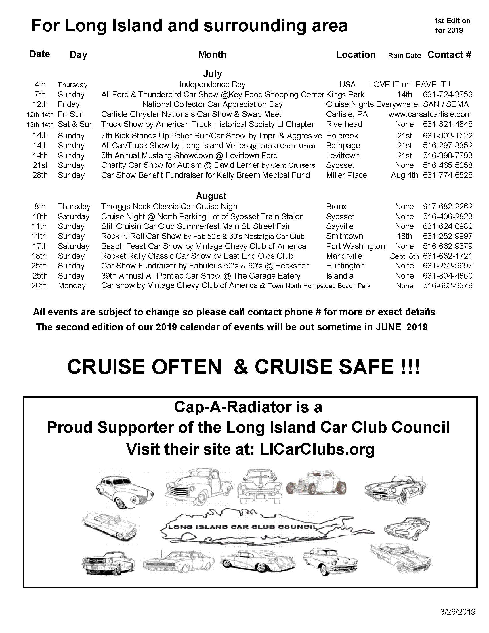2019 LI Classic Car Calendar of Events Part 1 Page 3
