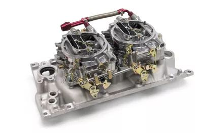 edelbrock dual quad intake manifold with avs carbs
